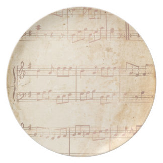 Vintage Pink Music Sheet Party Plate