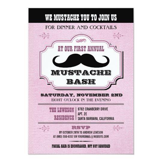 Vintage Pink Mustache Bash Card