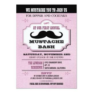 "Vintage Pink Mustache Bash 4.5"" X 6.25"" Invitation Card"
