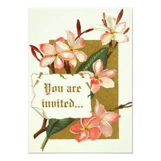 Vintage pink oleander flowers wedding invitation