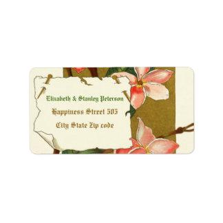 Vintage pink oleander flowers wedding label address label