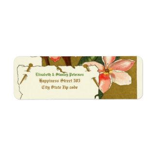 Vintage pink oleander flowers wedding label return address label