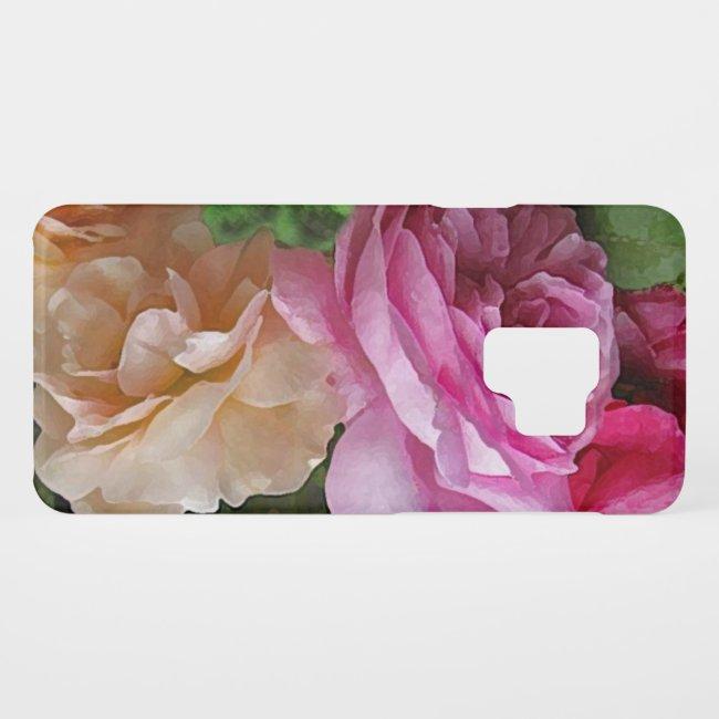 Vintage Pink Orange Rose Flowers Galaxy S9 Case