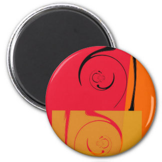 Vintage Pink, orange, yellow, black retro art deco Magnet