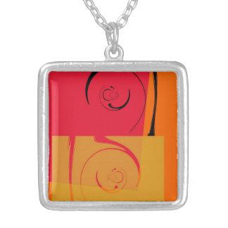 Vintage Pink, orange, yellow, black retro art deco Silver Plated Necklace