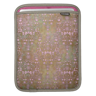 Vintage Pink over Brown Fancy Lace Damask iPad Sleeve
