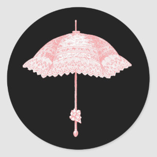 Vintage Pink Parasol Stickers