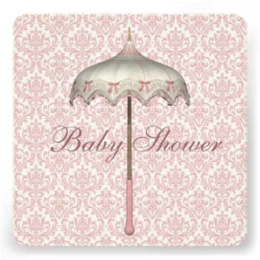 vintage pink parasol umbrella baby girl shower square paper