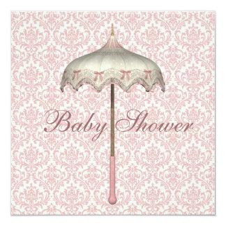 Vintage Pink Parasol Umbrella Baby Girl Shower 5.25x5.25 Square Paper Invitation Card