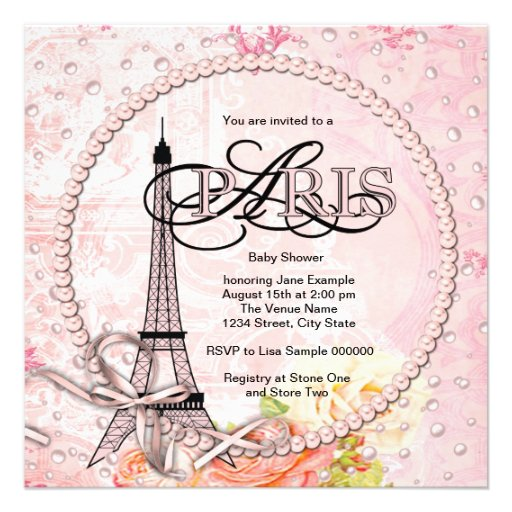 vintage pink paris baby shower invitations square invitation