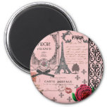Vintage Pink Paris Collage 2 Inch Round Magnet
