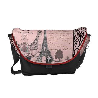 Vintage Pink Paris Collage bag Courier Bags