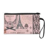 Vintage Pink Paris Collage bag Wristlets