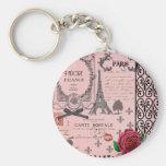 Vintage Pink Paris Collage Basic Round Button Keychain