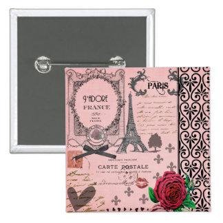 Vintage Pink Paris Collage Pin
