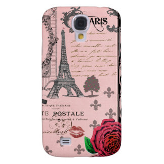 Vintage Pink Paris Collage Galaxy S4 Cover