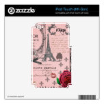 Vintage Pink Paris Collage Decal For iPod Touch 4G