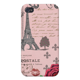 Vintage Pink Paris Collage iPhone 4/4S Cover