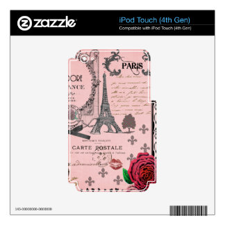 Vintage Pink Paris Collage iPod Touch 4G Skins