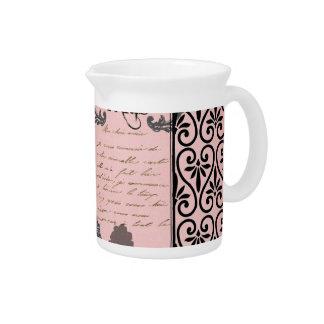 Vintage Pink Paris Collage jug Drink Pitcher