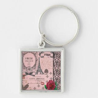 Vintage Pink Paris Collage Key Chains