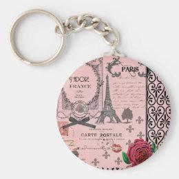 Vintage Pink Paris Collage Keychain