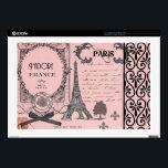 "Vintage Pink Paris Collage Laptop Decals<br><div class=""desc"">pink, vintage, paris, france, gothic, eiffel, &quot;eiffel tower&quot;, adore, french, goth, black, &quot;shabby chic&quot;, rose, &quot;red rose&quot;, red, coral, romantic, hearts, ribbons, lips, swirls, &quot;fleur de lis&quot;, fleur, stamp, postmark, handwriting, flowery, girly, flower, heart, retro, deco, illustrations black, parchment, collage, artistic, girl, love, lover, posh, fancy, old, shabbychic, lavish, luxury,...</div>"