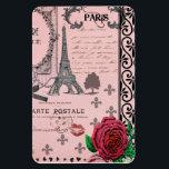 "Vintage Pink Paris Collage Magnet<br><div class=""desc"">pink, vintage, paris, france, gothic, eiffel, &quot;eiffel tower&quot;, adore, french, goth, black, &quot;shabby chic&quot;, rose, &quot;red rose&quot;, red, coral, romantic, hearts, ribbons, lips, swirls, &quot;fleur de lis&quot;, fleur, stamp, postmark, handwriting, flowery, girly, flower, heart, retro, deco, illustrations black, parchment, collage, artistic, girl, love, lover, posh, fancy, old, shabbychic, lavish, luxury,...</div>"