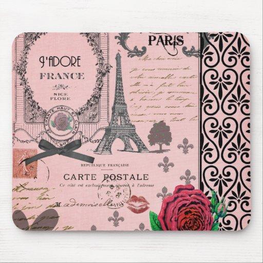 Vintage Pink Paris Collage Mousepad