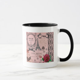 Vintage Pink Paris Collage Mug