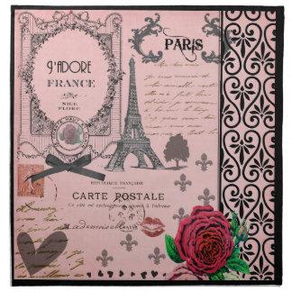 Vintage Pink Paris Collage napkins