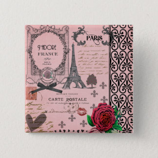 Vintage Pink Paris Collage Pinback Button