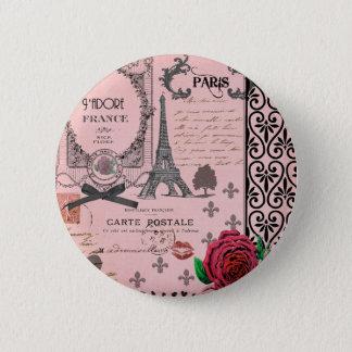 Vintage Pink Paris Collage Pinback Button