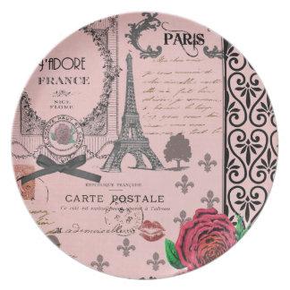 Vintage Pink Paris Collage plate