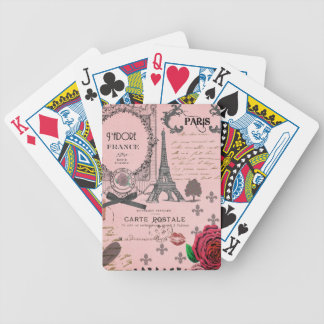 Vintage Pink Paris Collage Poker Cards