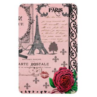 Vintage Pink Paris Collage Rectangular Photo Magnet