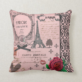 Vintage Pink Paris Collage romantic pillow