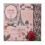 Vintage Pink Paris Collage Small Square Tile