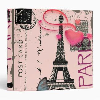 vintage pink Paris Effiel Tower Business Binder