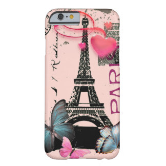 vintage pink Paris EffielTower Butterfly iPhone 6  Barely There iPhone 6 Case