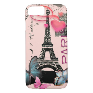 vintage pink Paris EffielTower Butterfly iPhone 7  iPhone 7 Case
