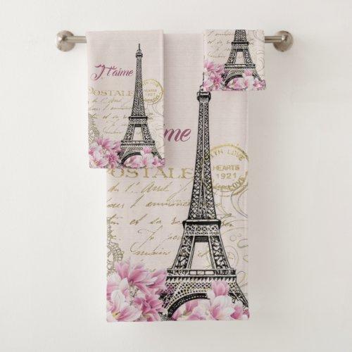 Vintage pink Paris Eiffel Tower romantic collage Bath Towel Set