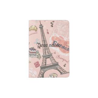Vintage,pink,paris,france,pattern,floral,chic,fun, Passport Holder