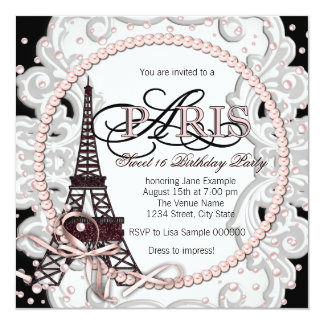 Vintage Pink Paris Sweet 16 Birthday Party 5.25x5.25 Square Paper Invitation Card