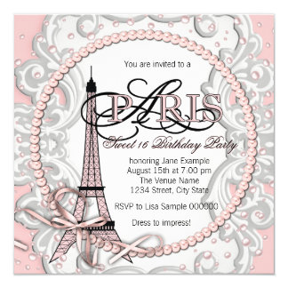 Vintage Pink Paris Sweet 16 Birthday Party Personalized Invite