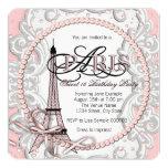 "Vintage Pink Paris Sweet 16 Birthday Party 5.25"" Square Invitation Card"