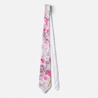 Vintage pink pastel flowers polka dots pattern neck tie