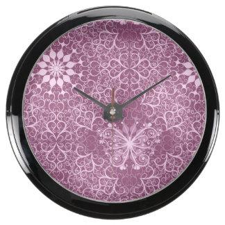 Vintage Pink Pattern Aquavista Clocks