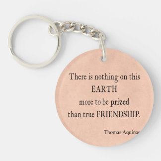 Vintage Pink Peach Parchment Paper Aquinas Friend Single-Sided Round Acrylic Keychain