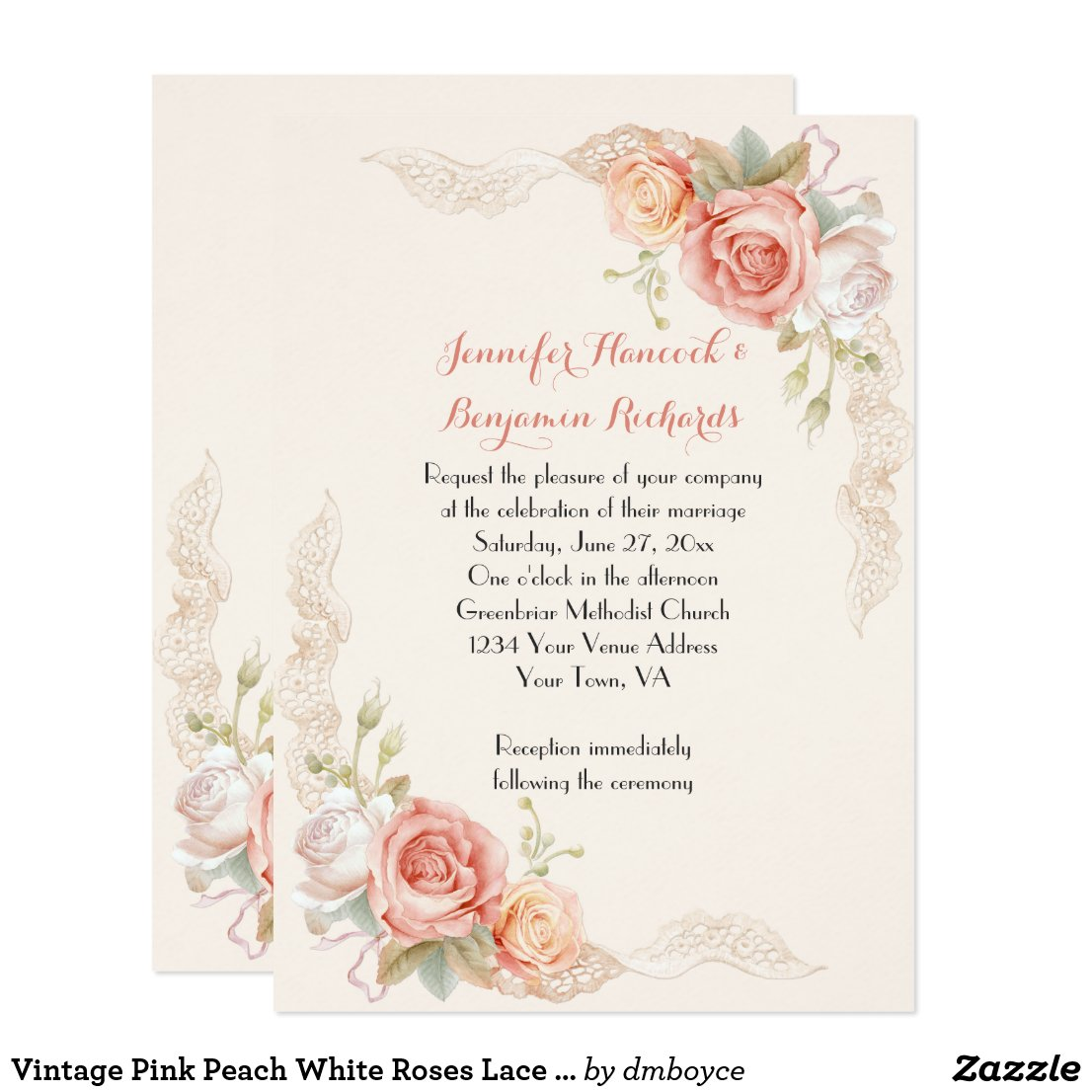 Vintage Pink Peach White Roses Lace Wedding Invite